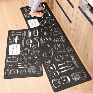 Image 1 - אנטי להחליק מטבח ארוך מחצלת אמבטיה שטיח מודרני קריקטורה מסדרון כניסת שפשפת Tapete שמן הוכחה שינה סלון רצפת מחצלות