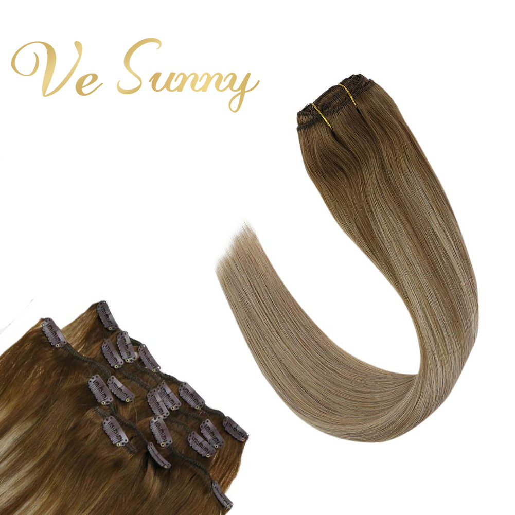 VeSunny Double Weft Clip In Hair Extensions Real Human Hair 7pcs 120gr Clip Hair Balayage Ombre Light Brown Mix Blonde #6/18/22