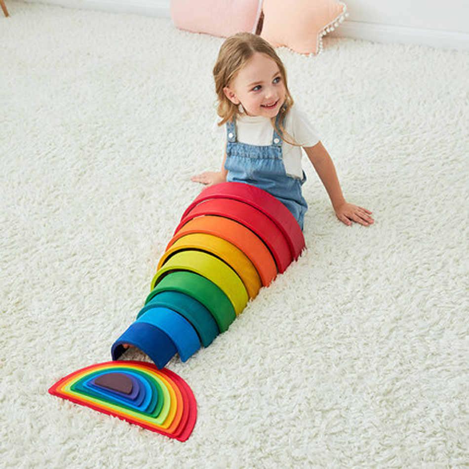 DIY Regenbogen Blöcke Baby Holz Spielzeug Große Größe Regenbogen Stapler Kreative Bausteine Montessori Pädagogisches Spielzeug Holz Spielzeug