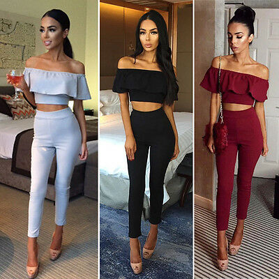 Fashion Womens Ladies Stylish Solid Color Slash Neck Cropt Tops + Long Pants Trousers 2PCS Tracksuit Outfits Set Lounge Wear