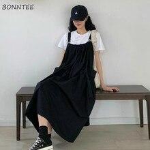 Sukienka damska bez rękawów pończoch workowaty japoński Plus rozmiar 2XL uczeń Kawaii dorywczo cały mecz moda Ulzzang lato Midi linia