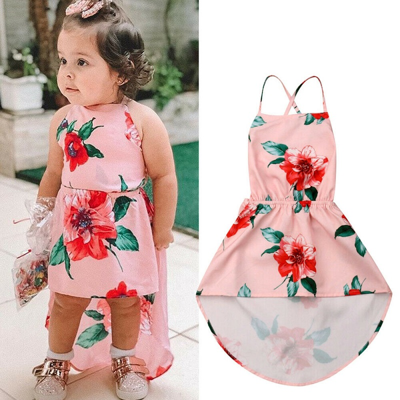 Pudcoco Girls Casual Dresses Kids Baby Girl Backless Flower Party Pageant Dress Summer Dress  Sundress 1-6Y