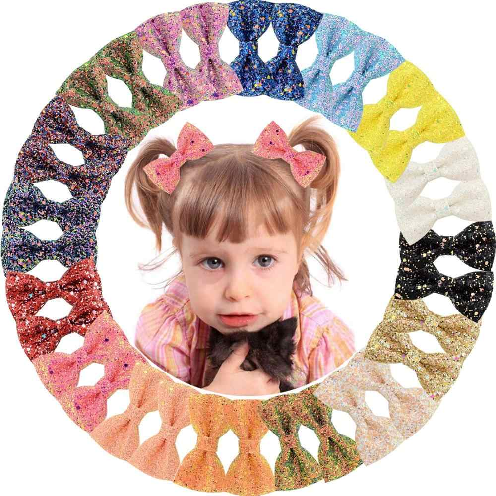1PC 3 inch Cute Glitter Kids Girls Hair Clips Bling Bows Princess Hairpins Small Colorful Hair Accessories For Children 909