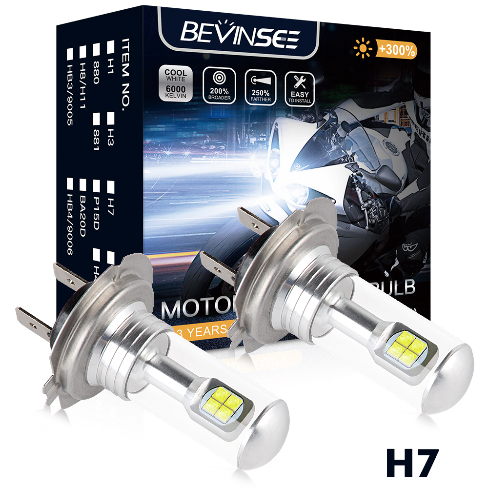 H7 LED Pure White Motorcycle Headlight Bulbs 6500K 80W 1500LM For Kawasaki Ninja ZX6R ZX6RR Versys 650 Vulcan 2000 Z1000 Z750S