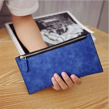 Fashion PU Leather Wallet Coin Purse Candy Color Long Wristlet Wallet Lady Credit Card Coin Wallet Clutch Zipper Purse Handbag(China)