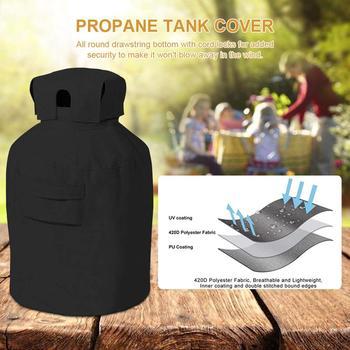 Zbiornik na propan Cover Heavy Duty odporna na warunki atmosferyczne puszka na gaz czarna okładka na zewnątrz tanie i dobre opinie 100 poliester Tank Cover Support
