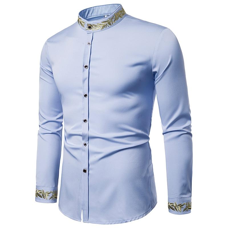 Rrive Mens Button Down High Low Long Sleeve Pleuche Stand Collar Dress Work Shirt