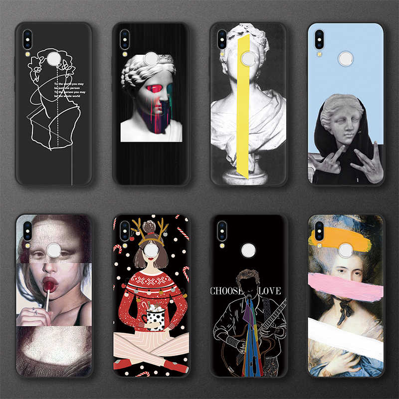 Sculpture TPU Soft Case For Huawei P20 P30 Pro P8 P9 P10 Lite 2017 P Smart 2019 Mona Lisa For Huawei Mate 20 30 10 Lite Pro Case