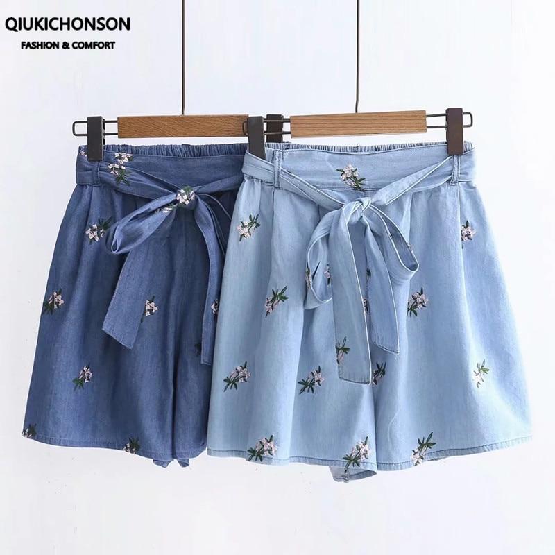 Short en jean fin brodé à fleurs pour femme, culotte japonaise Mori Girl, jambes larges, ceinture à nœud, taille haute, ample, été