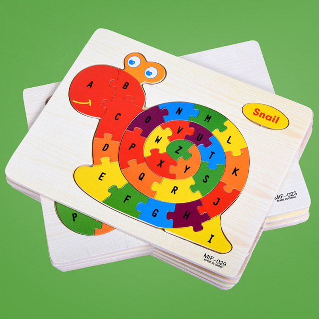 Kids Intelligence Baby Toy Wood Puzzles Cognition English Letter Building Wooden Animal Jigsaw Puzzle Toys for Children Toddler 3