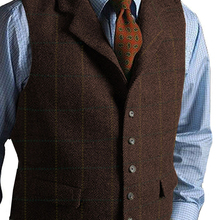 Мужской костюм, жилет, винтажный, кофейный, твидовый, шерстяной, в клетку, с отворотом, v-образный вырез, Повседневный, мужской жилет, жилет, елочка, для свадьбы, для жениха