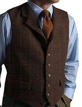 Мужской жилет кофейного цвета приталенный винтажный твидовый