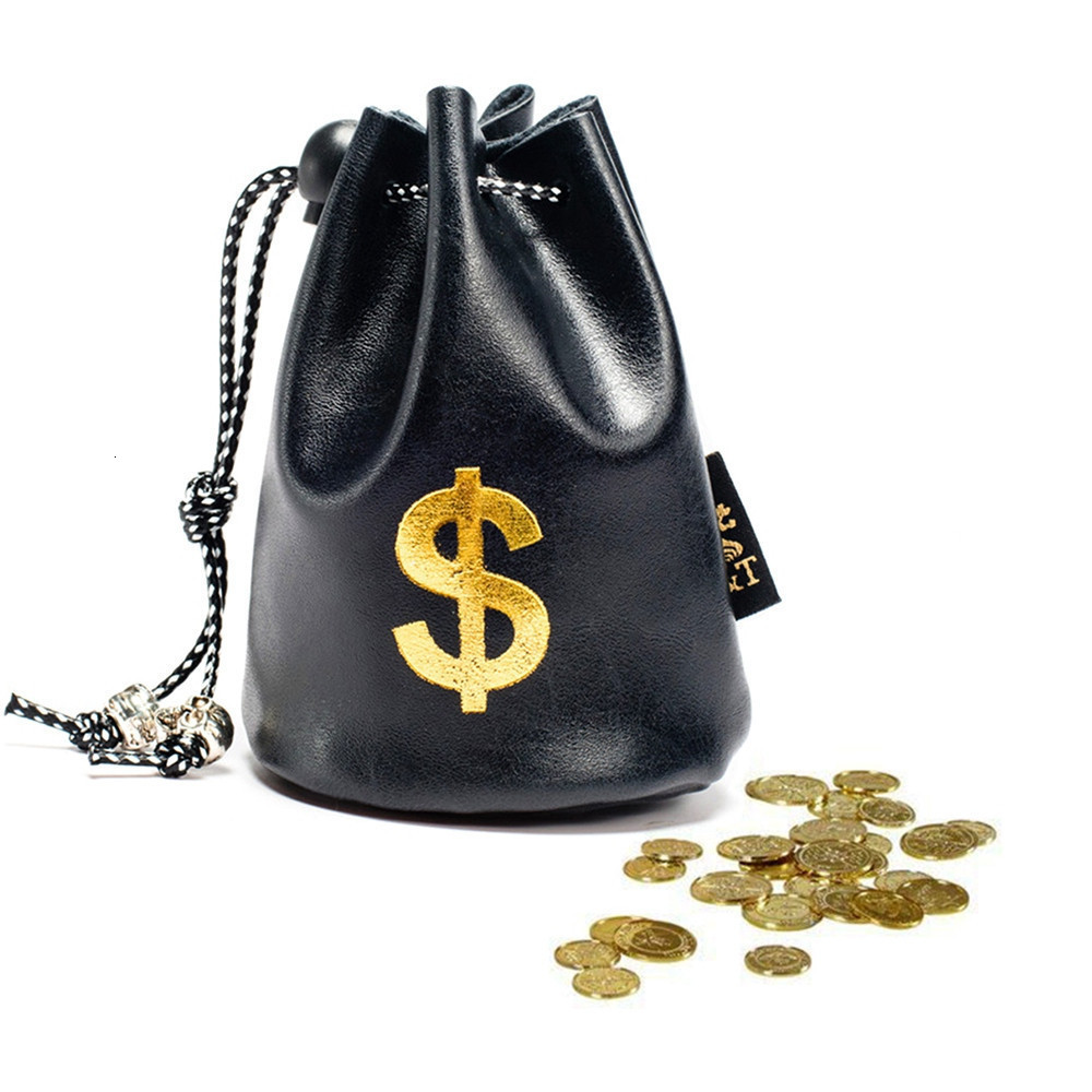 Women's Fashion Dollar Pound Currency Symbol Money Bag PU Leather Purse Bundle Drawstring Pocket Coin Cellphone Drawstring Bags