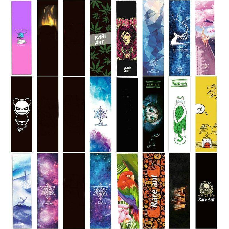 1pc 84*23cm Skateboard Sandpaper Sticker Perforated Skateboard Deck Grip Tape Double Rocker Deck Sandpaper Fish Board Grip Tape