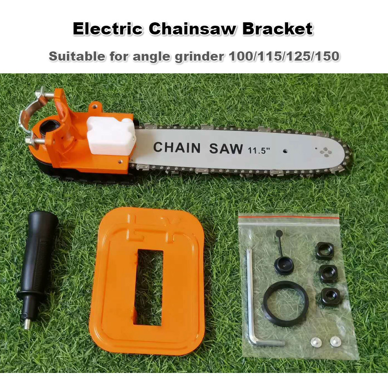 Tools : 12inch Electric Chainsaw Bracket Adjustable Universal M10 M14 M16 Chain Saw Part Angle Grinder Into Chain-Saw Straight Handle