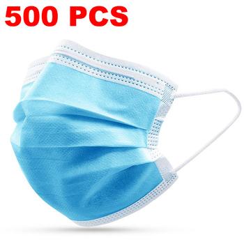 500 400 300 200 100 10 Pcs jednorazowe włókniny maska przeciw zanieczyszczeniom maska na twarz 3 warstwy filtr maska do pielęgnacji twarzy i ust tanie i dobre opinie Chin kontynentalnych NONE Blue Face Masks 10 100 200 300 400 500 pcs Masks
