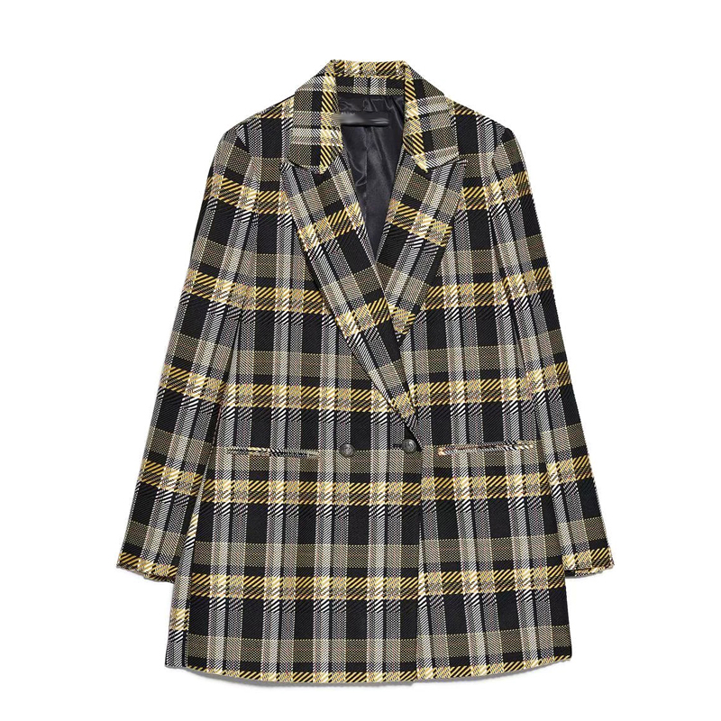Autumn And Winter 2019 New Women's Medium And Long Plaid Suit And Suit Suit Coat For Women