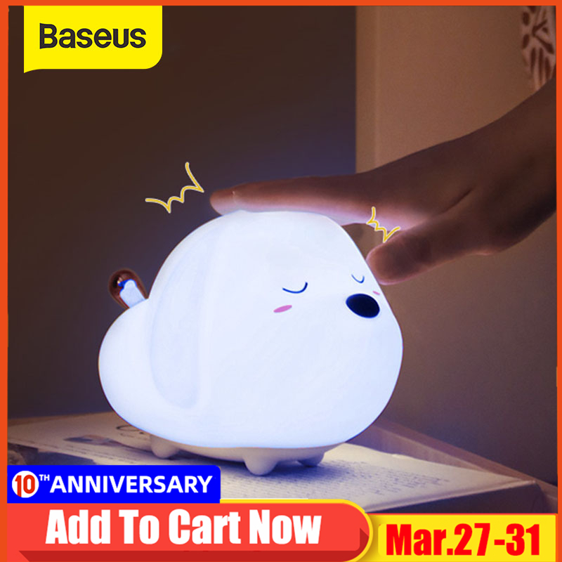 Baseus Touch Sensor LED Night Light Silicone Animal Lamp For Children Kids Baby Gift USB Rechargeable Dimmable Bedroom Lighting