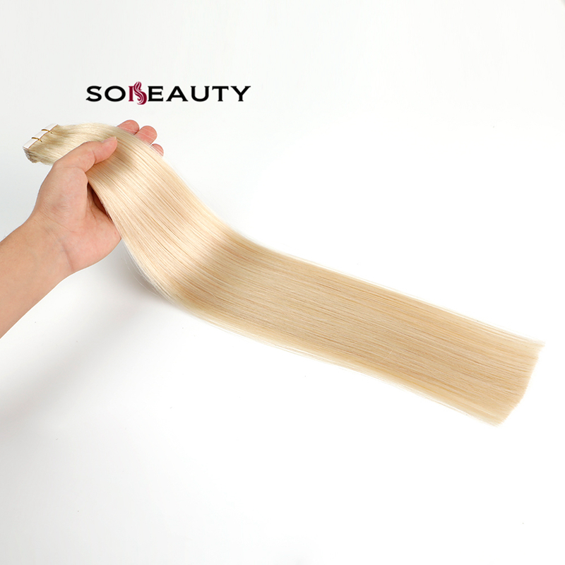 Sobeauty Tape In Human Hair Extensions Natural Real Hair 20 Pcs Machine-made Remy On Double Tape Adhesive Human Hair Extensions