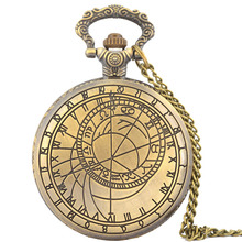 Compass Mapping Fob Watches Fashion Quartz Pocket Watch Vintage Necklace Pendant Clock Gift Bronze Pocket Watch Chain Necklace