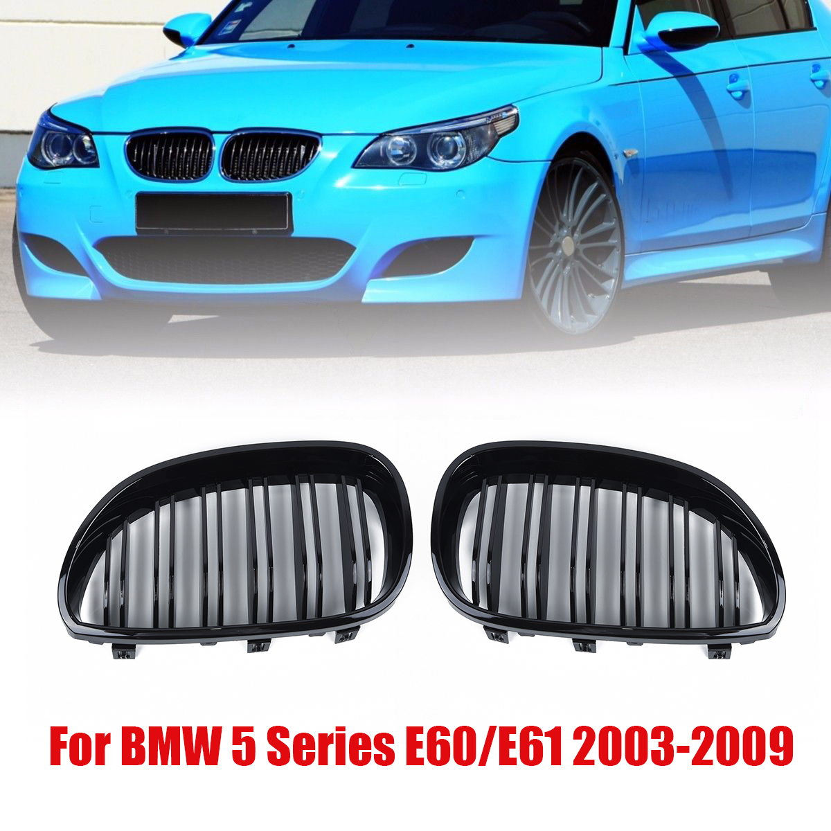 1 pair car Front Kidney Grill Double Line Grille For <font><b>BMW</b></font> <font><b>E60</b></font> E61 <font><b>5</b></font> <font><b>SERIES</b></font> 2003-2010 Gloss Black Front Kidney Grill image