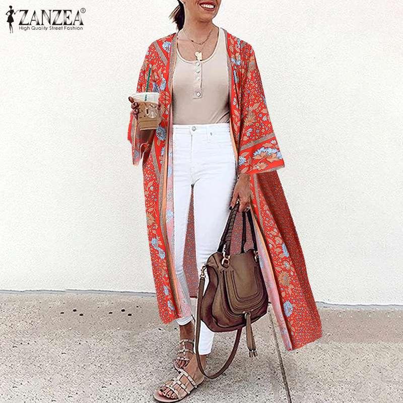 Elegant Kimono Duster Boho Free Size Kimono Retro Stripe Open Front Kimono Jacket