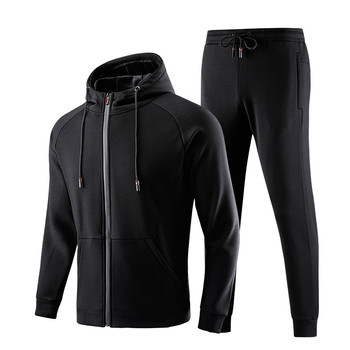 Mens Tracksuits Sportswear Sets Thicken Warm Sweatshirt + Pants Suit Hooded Winter Suit Male Quality Clothing Plus Size 5XL 6XL