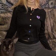 Kaisendz inverno impressão camiseta feminina botão de manga cheia curto tops streetwear casual algodão listra senhoras camiseta