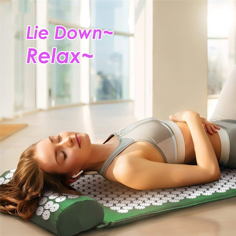 Acupressure Massage Mat or Yoga Mat with pillow set to release Body Pain for Fitness and health 5