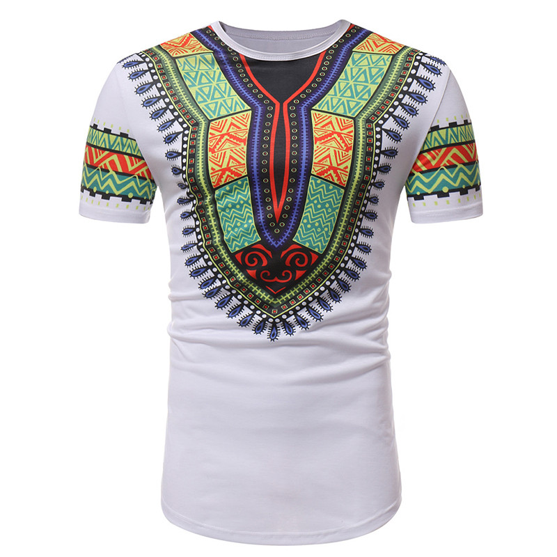 African Dashiki Print Ethnic T Shirt Men 2020 Brand Slim Fit Short Sleeve African Clothes Men Streetwear Casual Camisas Hombre