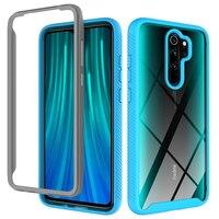 Funda trasera transparente con borde de Color anticaída, 2 en 1, funda de teléfono para Xiaomi, Redmi Note 8, 10 Lite, Poco M2, 9T, 9, 9A, 9C, K20 Pro, 360