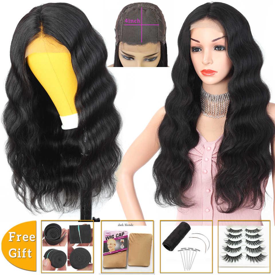 Lanqi Brasil Rambut Wig Tubuh Gelombang Wig 4X4 Renda Penutupan Wig dengan Harga Murah Rambut Manusia Wig untuk WANITA HITAM wig-Remy 150% Kepadatan