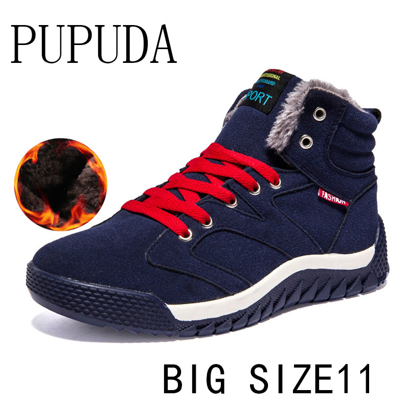 PUPUDA Snow Boots Men Winter New Cotton Shoes Fashion Trend Sneakers Men Casual Shoes Outdoor Sport Running Shoes Men Big Size11