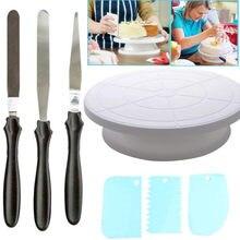 10 Polegada bolo de plástico mesa giratória diy pastelaria ferramenta de cozimento bolo suporte do bolo turntable girando bolo decoração ferramenta de cozimento