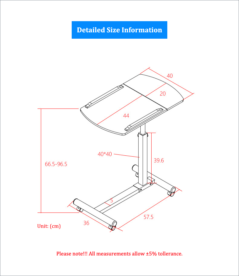 Foldable Laptop Stand with Rotating Wheels and Side Space for Keyboard and Mouse 13