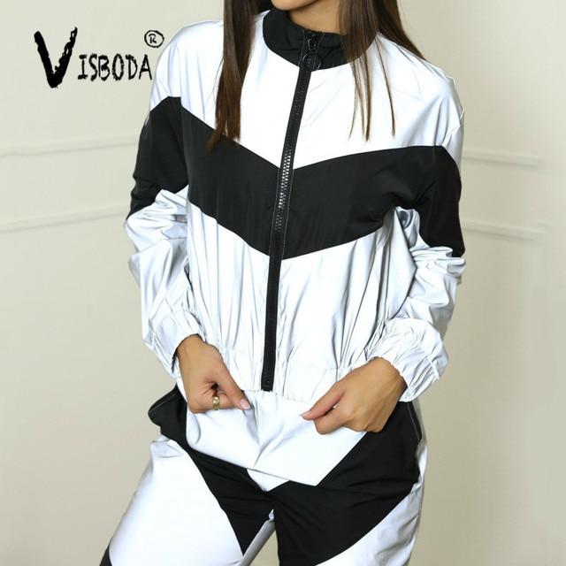 Women Tracksuits 2 Piece Set Reflective Zip Crop Top Pants Windbreaker Fashion Female Loose Glow Jacket Coat Trousers Plus Size 3
