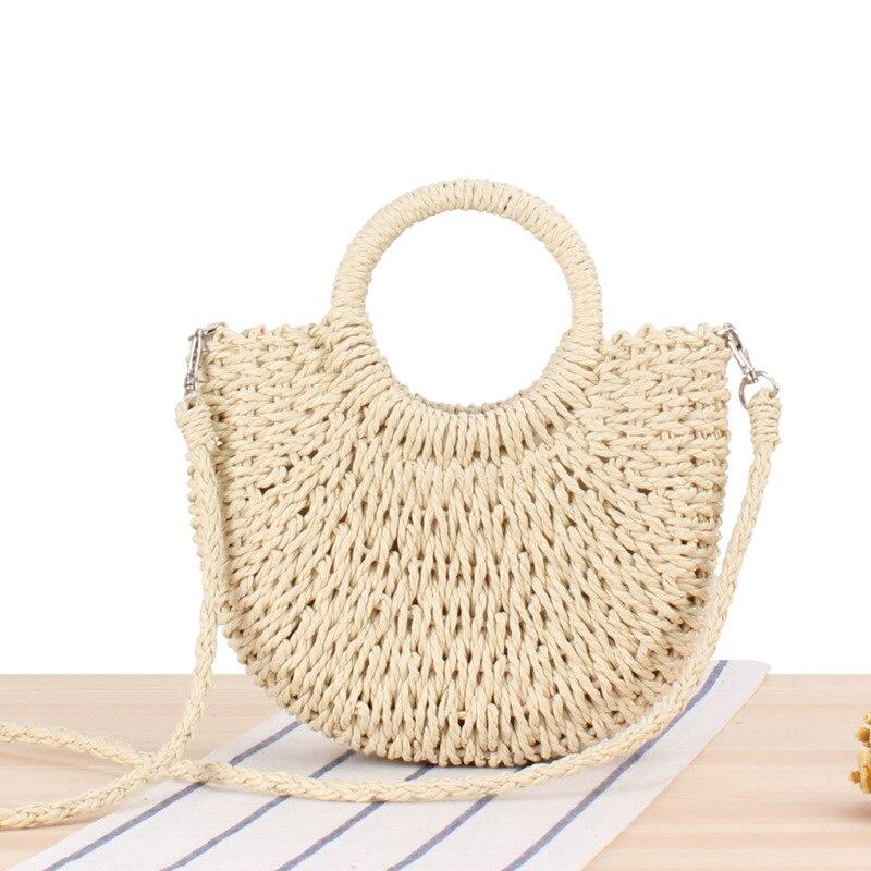 sac de plage en paille à bandoulière