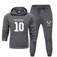 جديد 2020 بدلة رياضية موضة ميسي 10 ملابس رياضية للرجال طقم مكون من قطعتين من القطن والصوف بغطاء للرأس وسروال بدلة رياضية للرجال