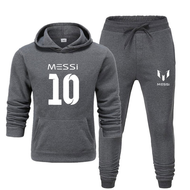 Новинка 2020, спортивный костюм, модная мужская спортивная одежда с Месси 10, комплект из двух предметов, толстая хлопковая флисовая толстовка + штаны, мужской спортивный костюм