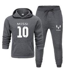 Yeni 2020 eşofman moda messi 10 erkek spor iki parçalı setleri pamuk polar kalın hoodie + pantolon spor takım elbise erkek