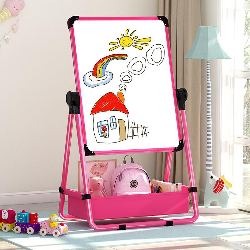 Baby CHILDREN'S Drawing Board Writing Board Magnetic Small Blackboard-Double-sided Easel Braced Household Height Adjustable Whit