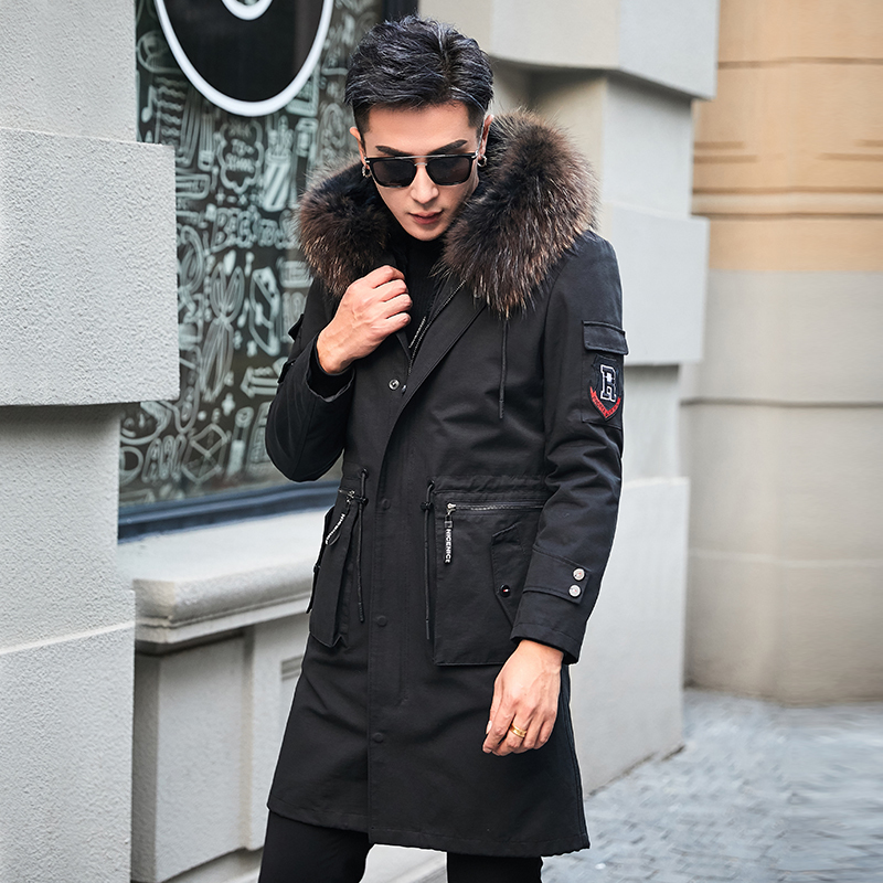 Real Fur Coat Men Rabbit Fur Liner Raccoon Fur Collar Hooded Parka Warm Natural Fur Parka Plus Size Winter Coat FX778899 YY719