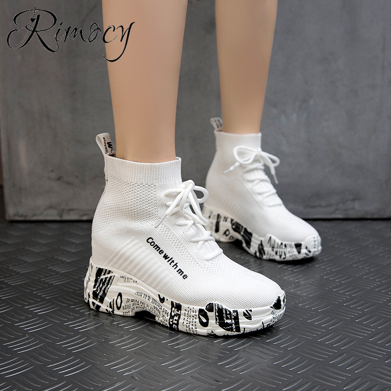 Rimocy Knit Sock Shoes Women High Top Sneakers Lace-up Platform White Shoes Woman Autumn Printed Hidden Heels Elasticity Boots