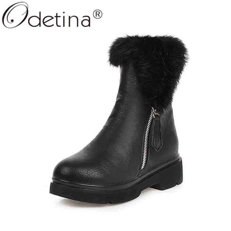 Odetina mujer moda invierno cremallera punta redonda plataforma tobillo botas de cola conejo bloque de piel medio talón deslizamiento en botas de nieve de piel gruesa