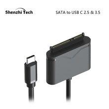 """Sata para usb c adaptador sata cabo para 2.5 """"e 3.5"""" externo ssd hdd disco rígido conversor caso"""