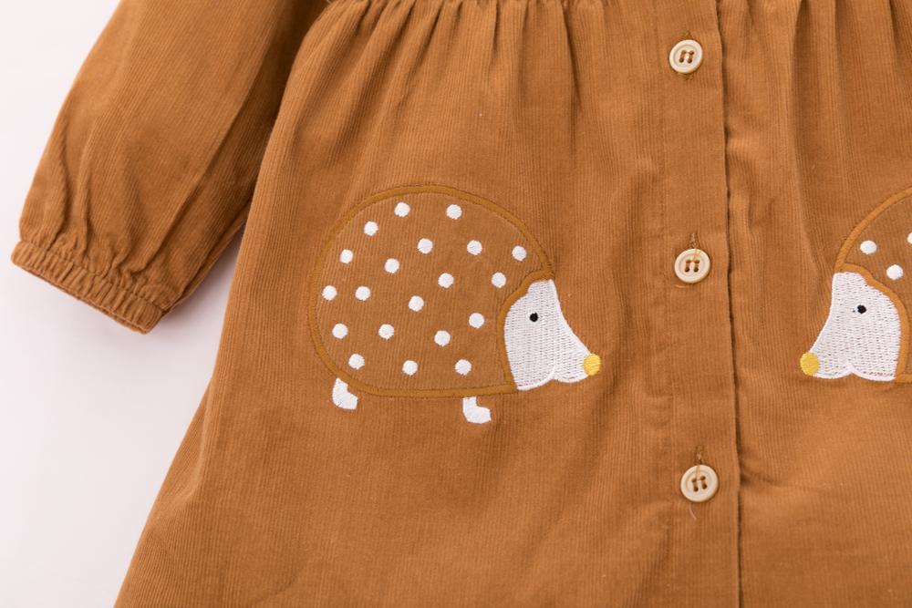 Little Maven Brand Autumn Baby Girls Clothes Cotton Hedgehog Applique Shirtdress Toddler Christmas Dresses for Kids 2-7 Years 6
