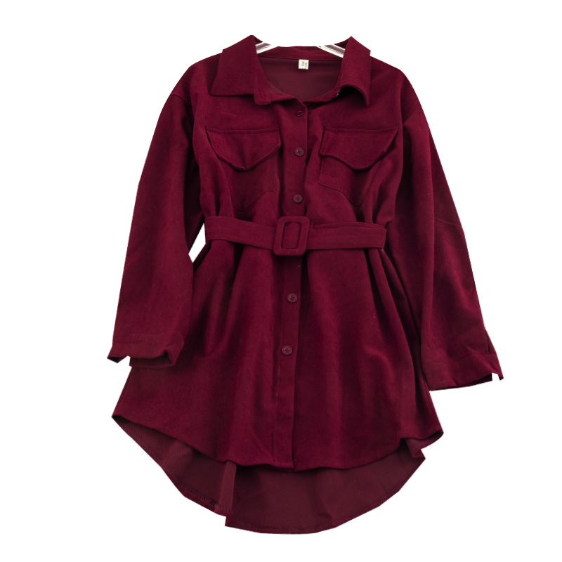 Women's Corduroy Shirt Autumn Winter New Turn-down Collar Long Sleeve Double Pocket Shirt Sashes Waist Wild Loose Jacket ML421