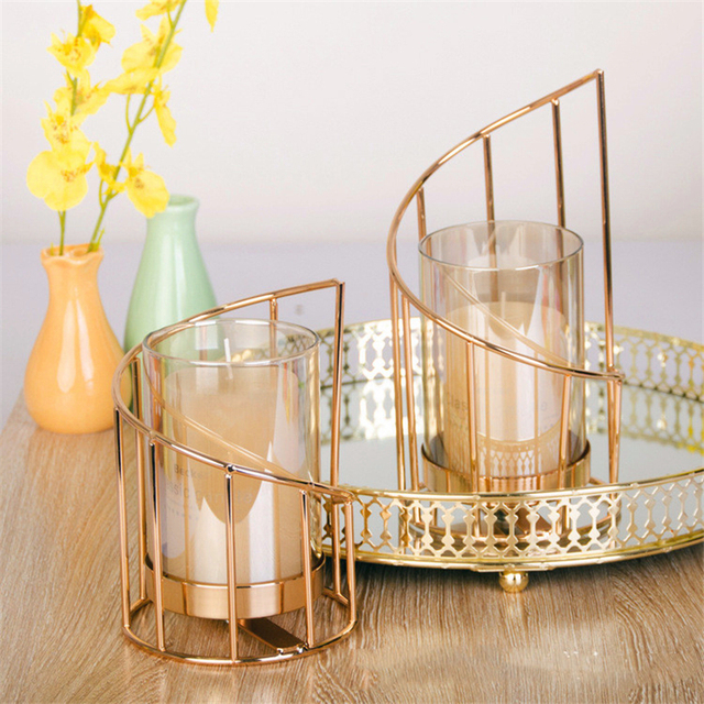 Golden Iron Candle Holder European geometric Candlestick Romantic Crystal Candle Cup Home Decoration Table Decoration 2