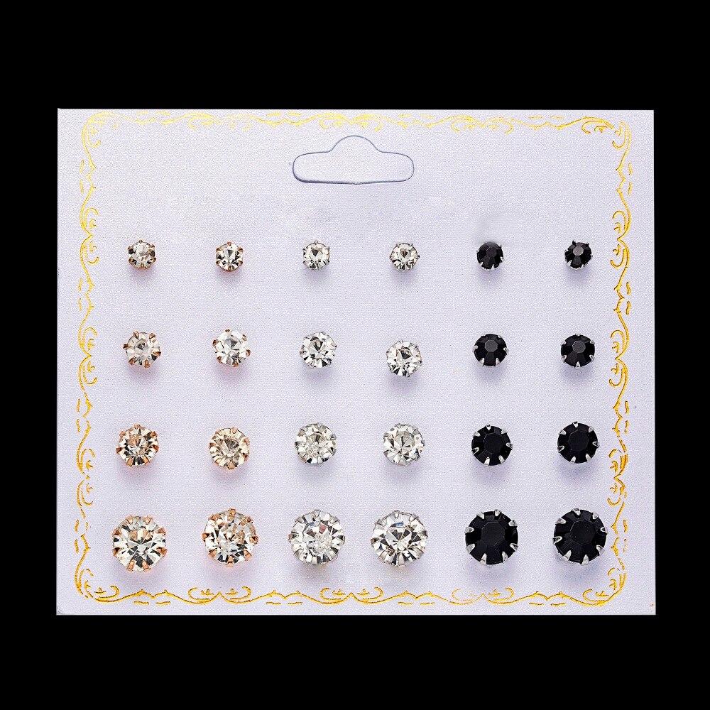 12 Pairs/set Stud Earrings Set With Card Transparent Zircon Balls Love Flowers Earrings Women Imulated Pearl Earrings Jewelry 51