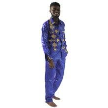 MD אפריקאי בגדי גברים סט רקמה אפריקאי סגנון חולצה עם מכנסיים ארוכים חליפת דאשיקי camisas africanas homens חולצות מכנסיים